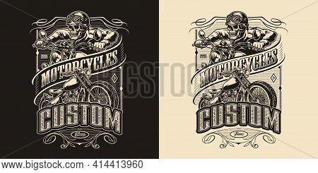 Custom Motorcycle Vintage Monochrome Emblem With Classic Motorbike And Skeleton Biker Riding Motorcy