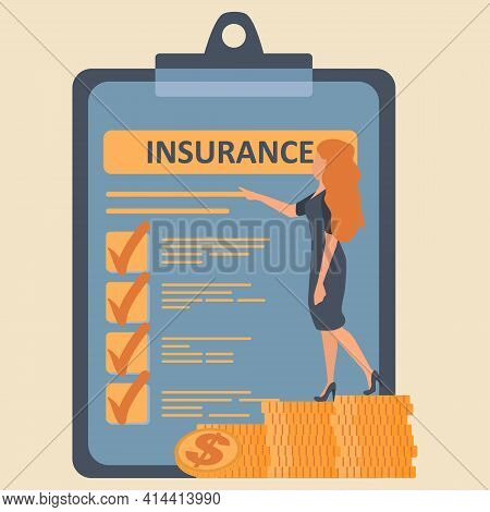 Flat Vector Illustration Of Health Insurance Contract. Woman Stand On Coins Stack Near Big Insurance