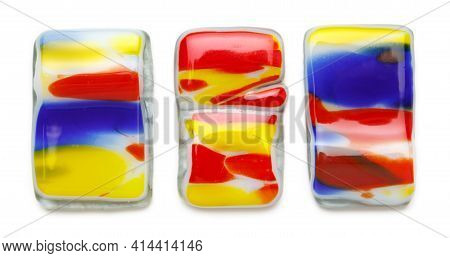 Abstract Composition Made Of Colored Glass By Fusing Technology. Stained Glass. Isolated On White Ba
