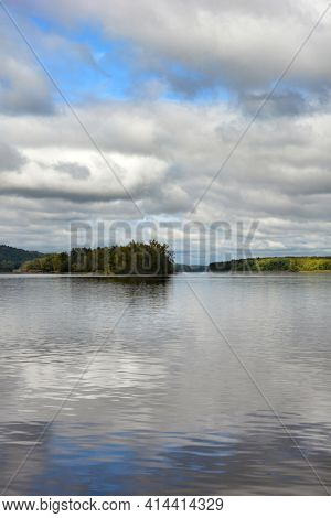 The Hudson River in early fall seen from Coxsackie, New York., vertical format.