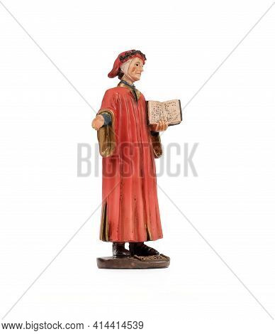 Ceramic Souvenir Figure Of The Famous Italian Poet In The Red Dress. The Inscription In English Mean