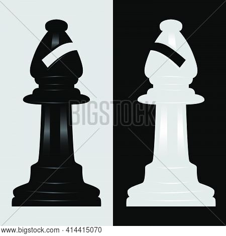 Bishop Black And White Chess Piece Vector Illustration