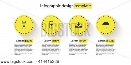 Set Antenna, Smartphone With Heart Rate, Download Inbox And Umbrella. Business Infographic Template.