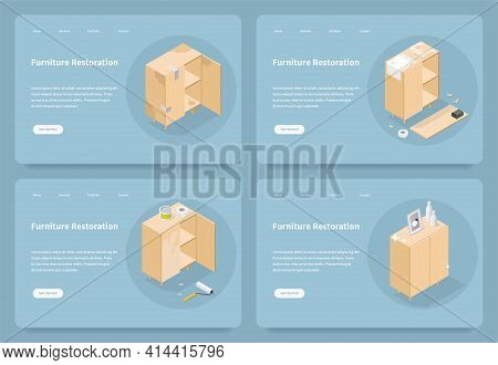 Vector Furniture Restoration Service Landing Page. Home Page With Isometric Illustrations Of Cabinet