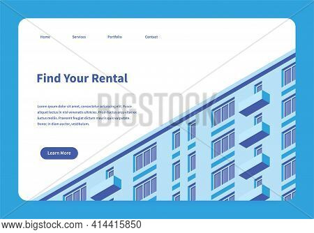 Vector Isometric Homepage Of Rental Service. Landing Page With Building Facade Illustration. Renting