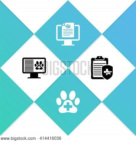 Set Clinical Record Pet On Monitor, Veterinary Clinic, And Icon. Vector