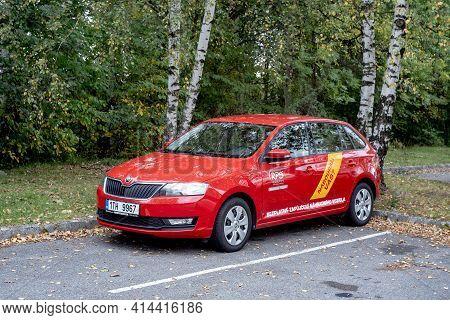 Havirov, Czechia - October 4, 2019: The Red Skoda Rapid Hatchback Car Of Rps Czech Company That Prov