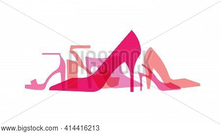 High Heels: Sandals, Pumps, Mules, Evening Shoes. Silhouettes Of Women's Shoes With High Heels. An I