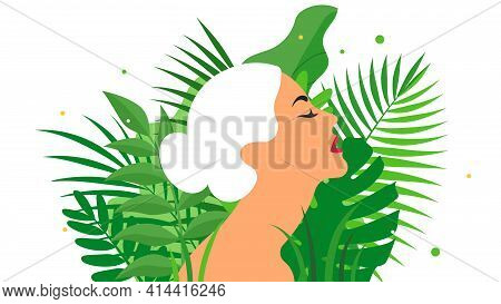 Beautiful Woman Face With Different Plants And Large Leaves. Female Silhouette And Floral Arrangemen