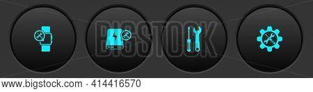 Set Smartwatch Service, Power Bank, Screwdriver And Wrench And Wrench Screwdriver In Gear Icon. Vect