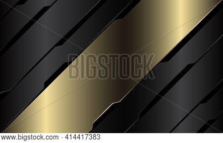 Abstract Gold Banner Grey Metallic Black Circuit Cyber Geometric Slash Design Modern Luxury Futurist