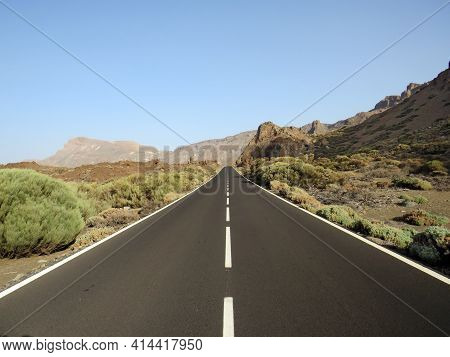 Asphalt Road In High Mountain Landscape. Alpine Landscape With Bushes And Peaks In Sunny Day. Geolog