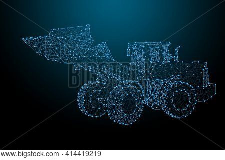 Tractor Of The Particles. Tractor Consists Of Small Circles Consisting Of Points, Lines, And Shapes,