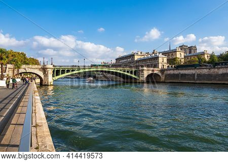 View Over The River Seine To Paris, France.