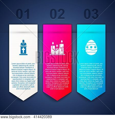 Set Church Pastor Preaching, Burning Candles And Easter Egg. Business Infographic Template. Vector