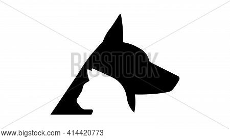Dog And Cat. Head Of Dog And Head Of Cat. Side View. Vector Illustration.