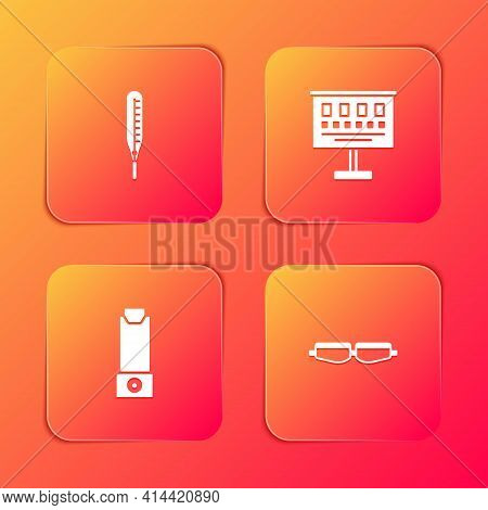 Set Medical Thermometer, Eye Test Chart, Inhaler And Safety Goggle Glasses Icon. Vector