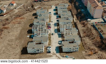 Aerial View Over Residential Buildings Roofs With Bituminous Membrane