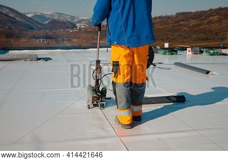 Waterproofing And Insulation At Construction Site, Waterproofing Membrane Preventing Water Penetrati