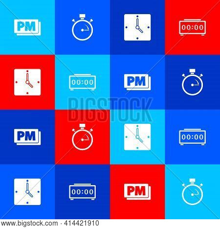 Set Clock Pm, Stopwatch, And Digital Alarm Clock Icon. Vector