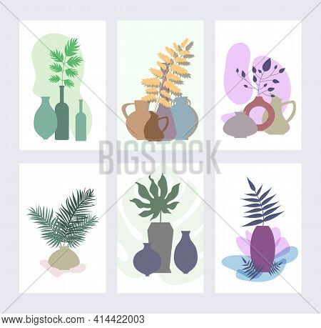Set Of Minimalist Posters - Vases With Branches. Minimalistic Wall Banner For Interior Design. Poste