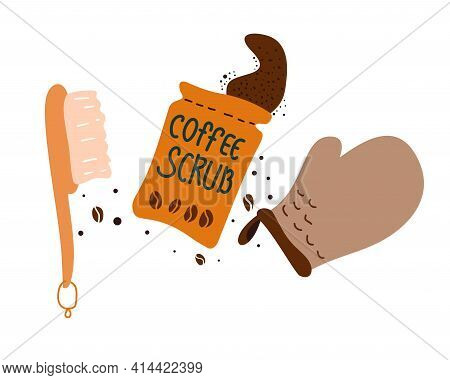 Coffee Scrub, Glove And Brush For Anti-cellulite Body Massage. Accessories For Scrub And Peeling Pro