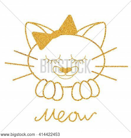 Gold Glitter Texture Cat With Bow Isolated And Letters Meow On White Background. Vector Illustration