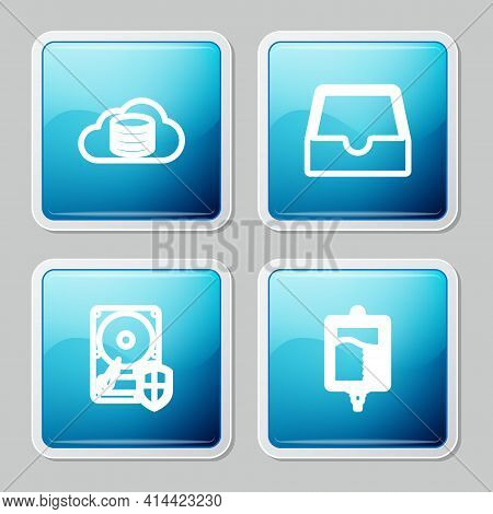Set Line Cloud Database, Social Media Inbox, Hard Disk Drive Hdd Protection And Iv Bag Icon. Vector