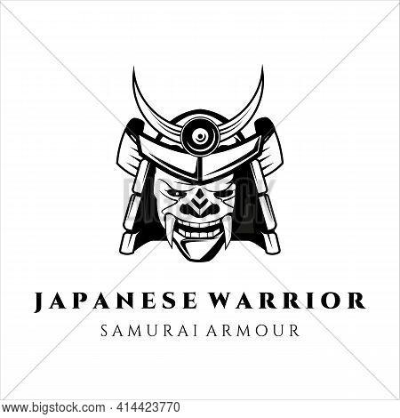 Mask And Helmet For Samurai Logo Vector Vintage Illustration Template Design. Japanese Warrior Armou