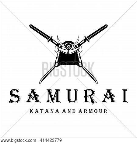 Katana And Helmet Samurai Logo Vector Vintage Illustration Template Design. Japanese Armour And Swor