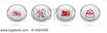 Set Line Question And Answer, Crossed Hammer Wrench, Office Folders And Download Inbox. Silver Circl