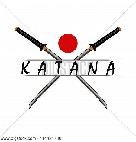 Katana Sword Vintage Logo Template Vector Illustration Design. Modern Japanese Sword Emblem Logo Con