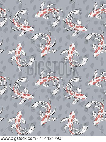 Koi Fish Seamless Vector Pattern. White Hand Drawn Fishes With Red Spots Isolated On A Gray Spotted