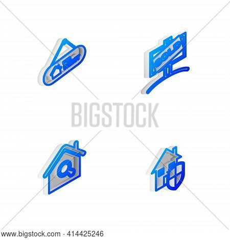 Set Isometric Line Hanging Sign With Sold, For Rent, Search House And House Under Protection Icon. V