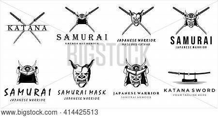 Set Of Samurai Logo Vector Vintage Illustration Template Emblem Design . Katana Sword Mask Helmet Ar