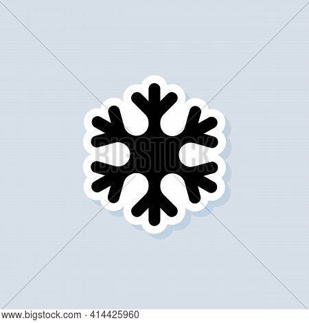 Snowflake Sticker. Snowflake Logo. Christmas And Winter Theme. Vector On Isolated White Background.
