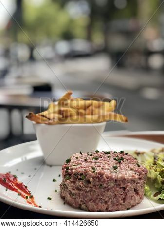 Fresh Steak Tartare With Salad And French Fries