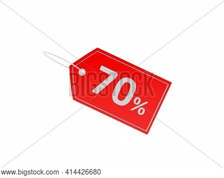 Red Price Tag With 70 Percent Discount Isolated On White Background. 3d Illustration