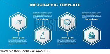 Set Line Car Fender, Handbrake, Steering Wheel And Tire. Business Infographic Template. Vector