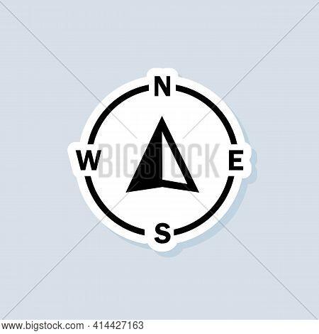 Compass Sticker. Navigator Arrow Icon. Navigation Technology, Geolocation Customizable Illustration.
