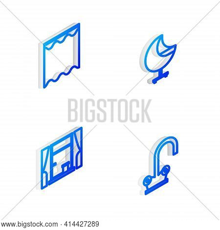 Set Isometric Line Armchair, Curtains, Window With Curtains And Water Tap Icon. Vector