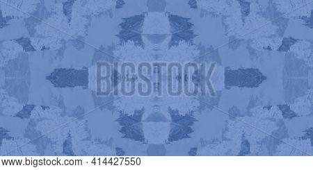 Indigo Tie Dye Pattern. White Abstract Ethnic Design. White Hand Drawn Spots. Marine Ethnic Ornament