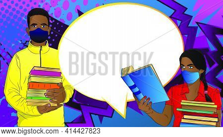 Afro-american Male And Female Student, Boy Carrying A Stack Of Books, Girl Reading, Wearing Face Mas