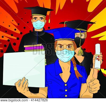 Male And Female Students In Graduation Gowns On University Campus. Graduates Wearing Face Mask. Youn