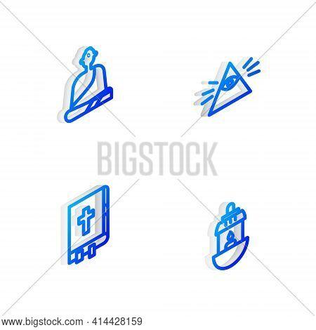 Set Isometric Line Masons, Buddhist Monk, Holy Bible Book And Ramadan Kareem Lantern Icon. Vector