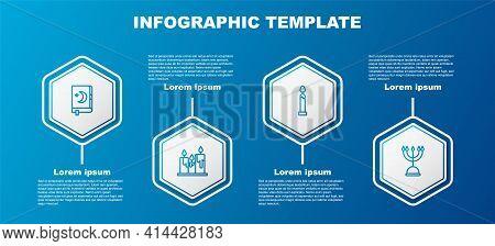 Set Line Holy Book Of Koran, Burning Candles, And Hanukkah Menorah. Business Infographic Template. V
