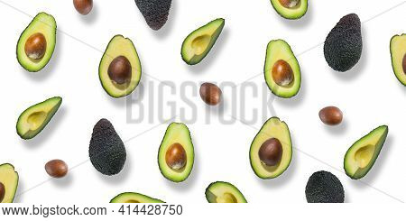 Pattern Of Fresh Ripe Green Avocados. Avocado Banner. Avocado Pieces And Halves Isolated On A White