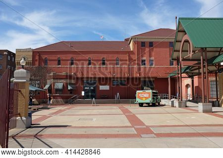 WACO, TEXAS - MARCH 19, 2018: Dr Pepper Museum and Free Enterprise Institute. Museum entrance and front courtyard.