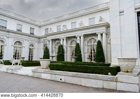 NEWPORT, RHODE ISLAND - 18 OCT 2011: Rosecliff Mansion, built 1898–1902, is one of the Gilded Age mansions now open to the public as a historic house museum.