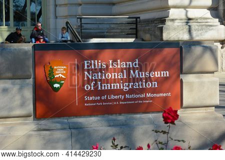 NEW YORK, NY - 04 NOV 2019: Closeup of the sign at the Ellis Island National Museum of Immigration, Statue of Liberty National Monument.